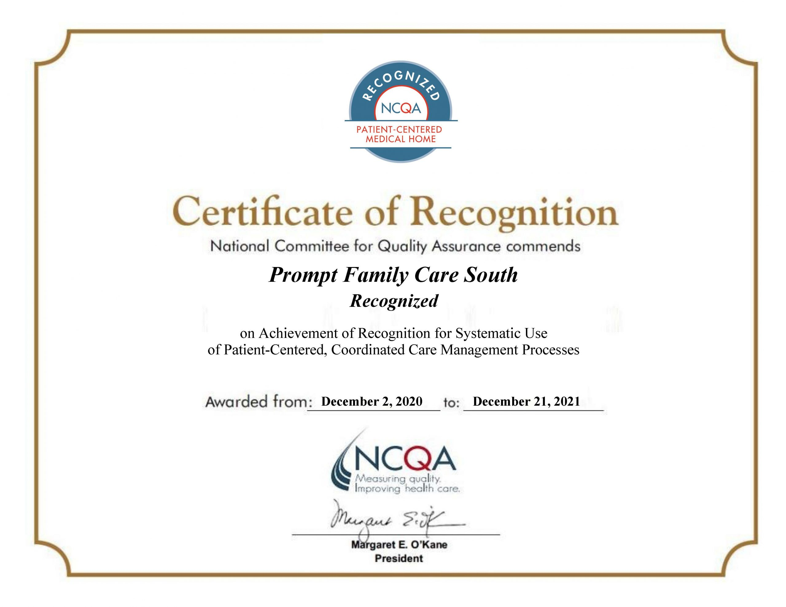 Prompt Family Care Recognized as PCMH